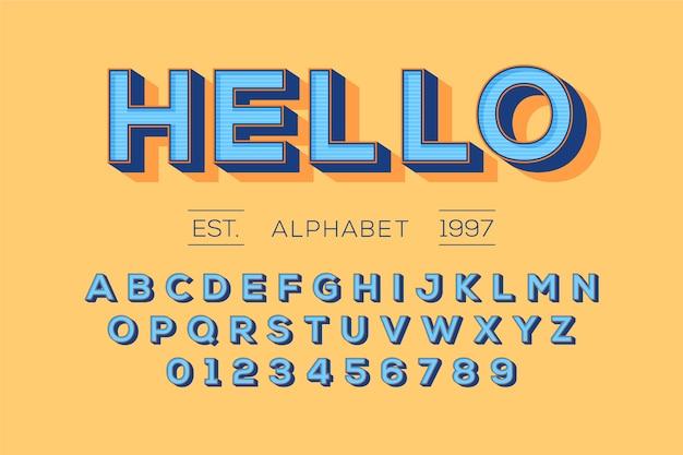 Alfabeto retro 3d