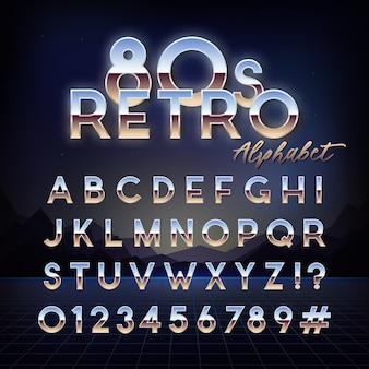 Alfabeto retro de los años 80 brillante