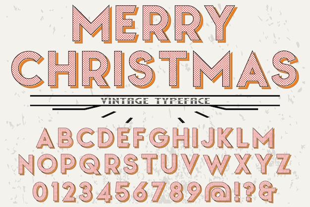 Alfabeto retro etiqueta diseño feliz navidad
