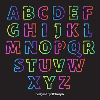 Alfabeto retro plantilla estilo degradado