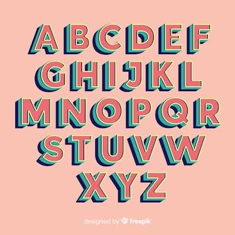 Alfabeto retro plantilla estilo retro