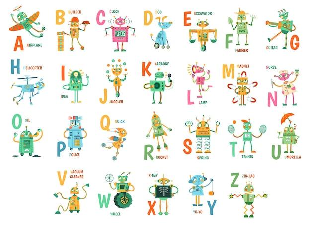 Alfabeto de robots de dibujos animados. divertidos personajes de robots, letras abc para niños y educación con mascotas robóticas amigo conjunto de ilustraciones vectoriales. androides lindos y palabras en inglés colocadas alfabéticamente.