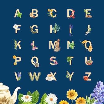 Alfabeto de té de hierbas con salvia, lavanda, caléndula, roselle acuarela ilustración.