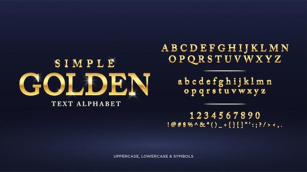 Alfabeto de texto dorado clásico simple