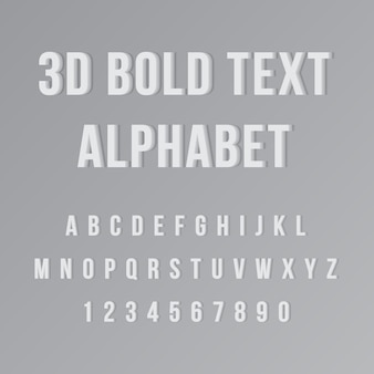 Alfabeto de texto en negrita 3d