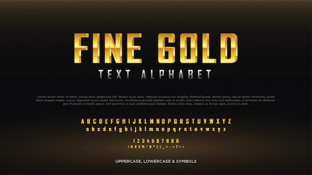 Alfabeto de texto de oro fino