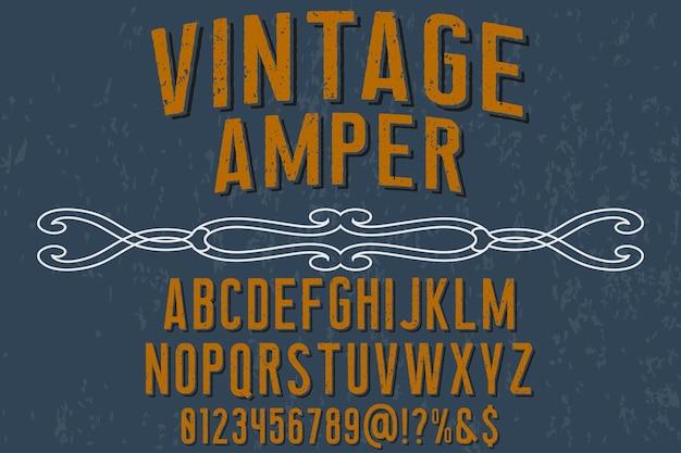 Alfabeto tipo de letra vintage amper