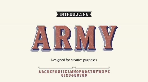Alfabeto tipografía del ejército