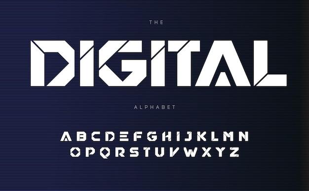 Alfabeto urbano digital letras de estilo futurista negrita fuente geométrica con línea de corte dentro de letras