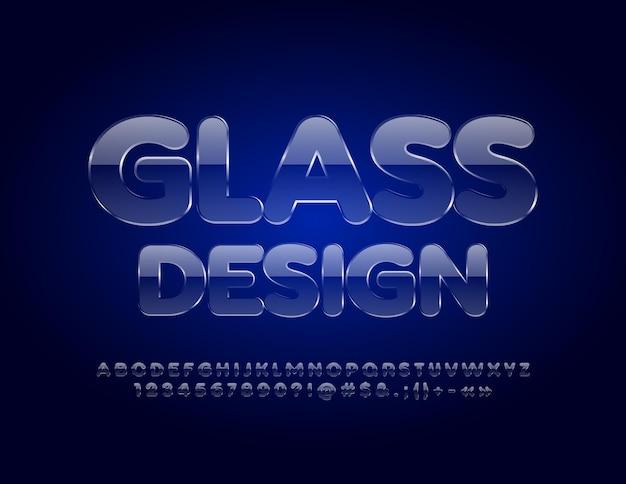 Alfabeto de vidrio fuente de hielo transparente textura de cristal letras y números