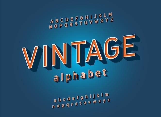 Alfabeto vintage sans serif. estilo clásico de la fuente de la tipografía retro
