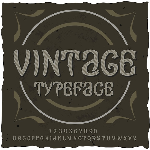 Alfabeto vintage con texto ornamentado typekit y letras con dígitos y formas circulares