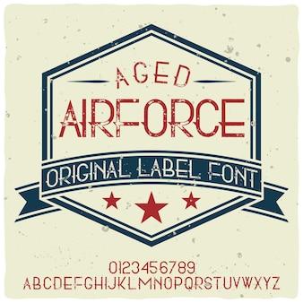 Alfabeto vintage y tipografía de etiqueta llamada air force.