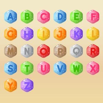 Alfabeto de la a a la z juego de palabras en forma de hexágono.