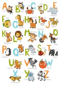 Alfabeto de zoológico de color vectorial con animales lindos sobre fondo blanco