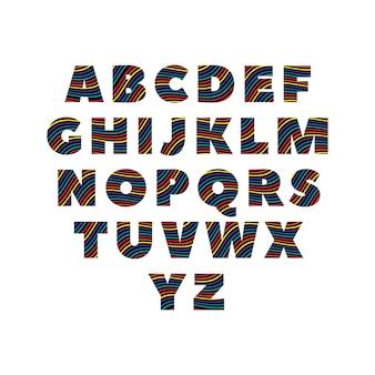 Alfabetos abc creativos en colores coloridos sobre silhoutte negro
