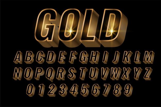 Alfabetos dorados establecen letras premium