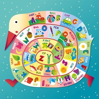 Alfabetos e ilustración de letras con lindo diseño de cisne para la educación de los niños