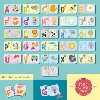 Alfabetos e ilustración de rompecabezas de combinación de letras con un diseño lindo para la educación de los niños
