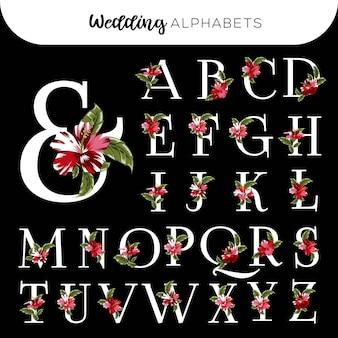 Alfabetos florales de boda hibiscus rojo