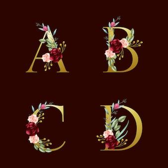 Alfabetos florales dorados borgoña y rubor