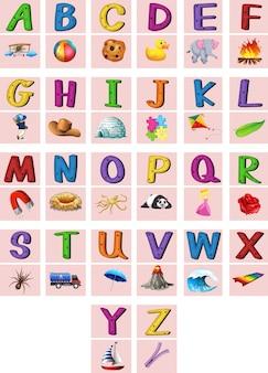 Alfabetos en inglés de la a a la z con imágenes vector gratuito