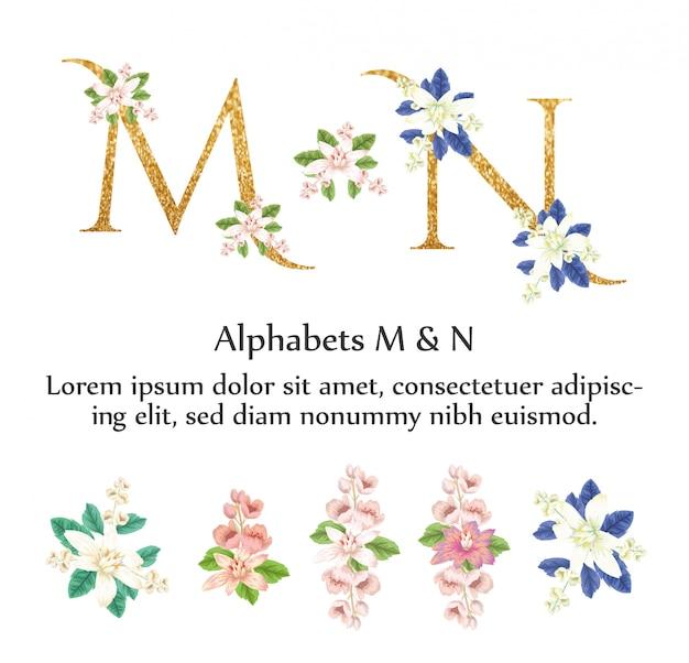 Alfabetos m & n invitan con flor de acuarela