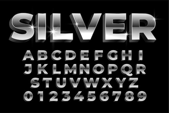 Alfabetos y números plateados brillantes establecen diseño de efectos de texto