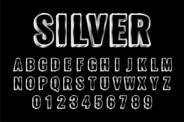 Alfabetos de plata estilo conjunto de efectos de texto