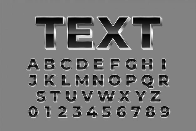 Alfabetos plateados brillantes establecen efecto de texto