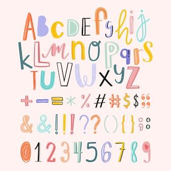 Alfabetos, puntuaciones, números doodle conjunto de tipografía
