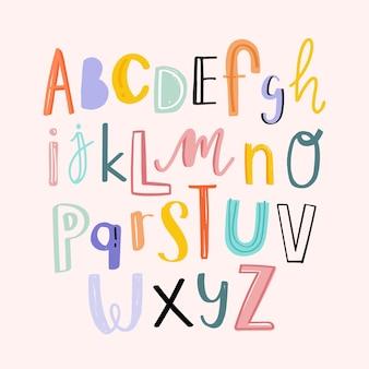 Alfabetos tipografía dibujados a mano conjunto de estilo doodle