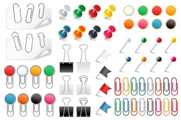 Alfileres de clips. empuje alfileres sujetadores grapa clavija pin clip de papel de color anuncio organizado por la oficina, conjunto realista