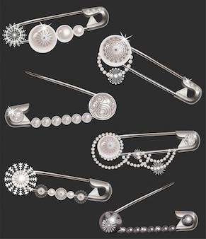 Alfileres con perlas