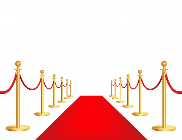 Alfombra de evento rojo realista, barrera de cuerda dorada. gran inauguración, celebración de lujo.