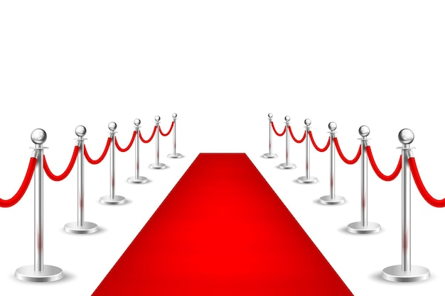 Alfombra de evento rojo vector realista y barreras plateadas aisladas sobre fondo blanco. plantilla de diseño, imágenes prediseñadas, ilustración eps10.