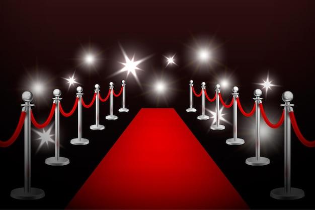 Alfombra de evento rojo de vector realista, barreras plateadas y destellos. plantilla de diseño, ilustración eps10.