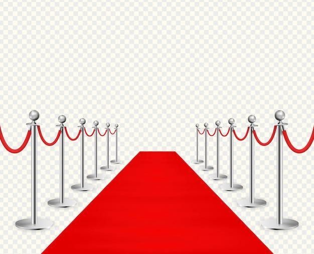 Alfombra roja y barreras plateadas realistas aisladas sobre fondo transparente