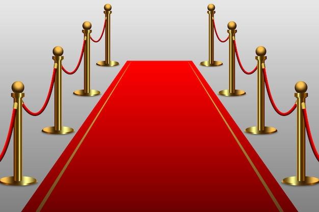 Alfombra roja para celebridad con barrera de cuerda.