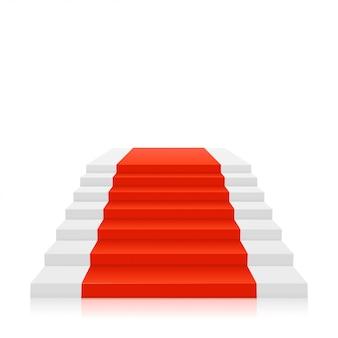 Alfombra roja sobre escaleras blancas