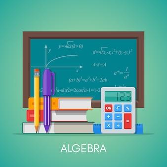 Álgebra matemática ciencia educación concepto póster en diseño de estilo plano.