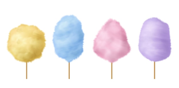 Algodón de azúcar. dulce azúcar de azúcar rosa, azul y amarillo delicioso postre de verano esponjoso con palo, carnaval tradicional o festival, fiesta o parque deliciosa confección 3d conjunto de vectores aislados realistas