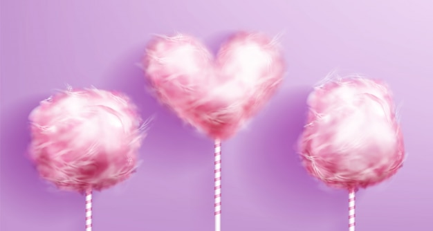 Algodón de azúcar en forma de corazón en palo de rayas rosa