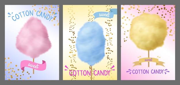 Algodón de azúcar. hilo de azúcar colorido en palo, azul, rosa y amarillo dulce conos esponjosos piruletas, carnaval o festival, fiesta o parque concepto de anuncio de confección con lugar para carteles de vector de texto