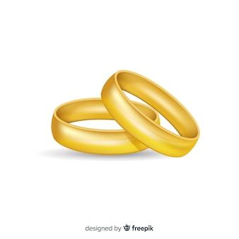 Alianzas doradas de boda realistas
