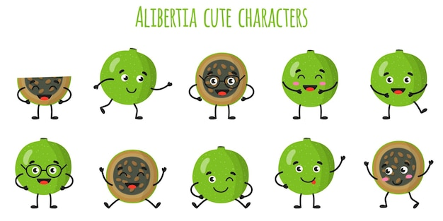 Alibertia fruit cute divertidos personajes alegres con diferentes poses y emociones. colección de alimentos detox de vitamina antioxidante natural. ilustración aislada de dibujos animados.