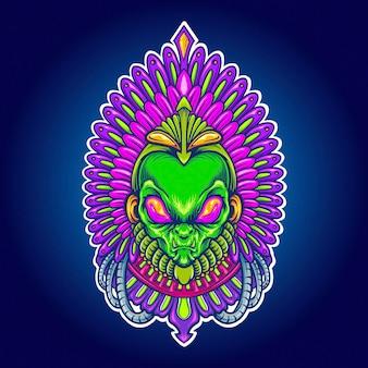 Alien aztec indian space ilustraciones vectoriales para su trabajo logotipo, camiseta de mercancía de mascota, pegatinas y diseños de etiquetas, carteles, tarjetas de felicitación, publicidad de empresas comerciales o marcas.