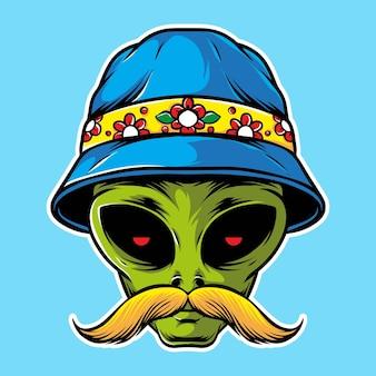 Alien de bigote con sombrero de cubo