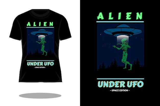 Alien bajo diseño de camiseta retro.