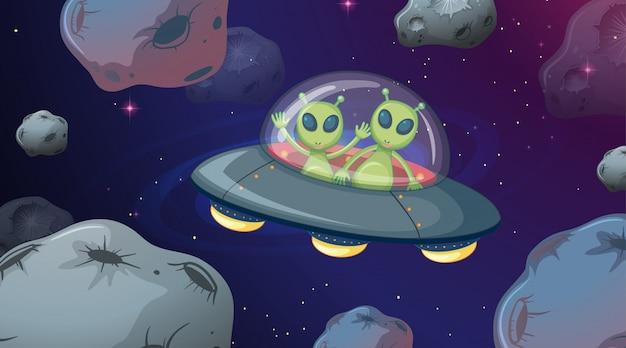 Alien en la escena espacial ovni